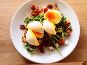 Sweet Potato Hash with Soft Eggs